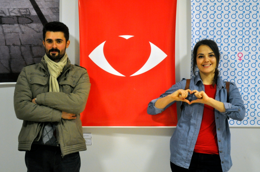 Onur Aşkın and my posters at the International Invitational Poster Festival